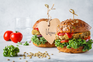 Vegan Burger with tomatoes and greens