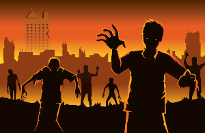 Vector image of zombies walking out from city